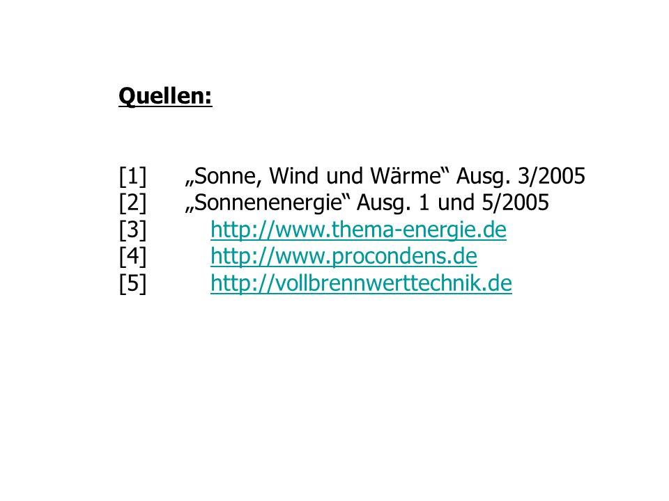 """Quellen:[1] """"Sonne, Wind und Wärme Ausg. 3/2005. [2] """"Sonnenenergie Ausg. 1 und 5/2005. [3] http://www.thema-energie.de."""